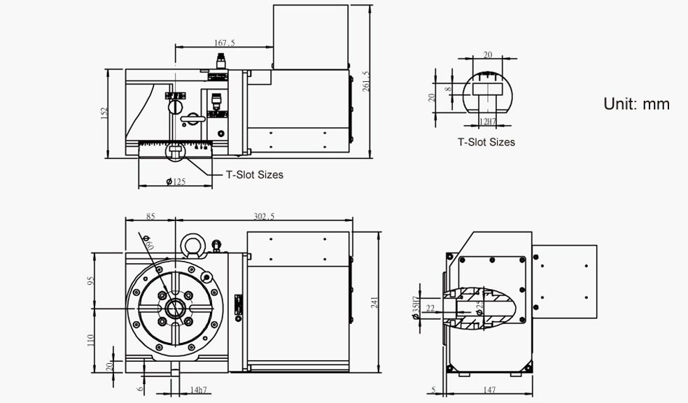 SUA-125 (Right Hand) CNC Rotary Table Pneumatic Brake