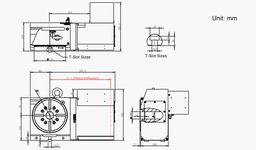 SUA-170 (Right Hand) CNC Rotary Table Pneumatic Brake