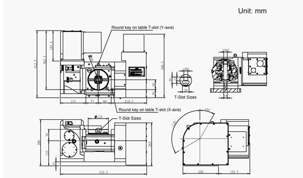 FEH-125 (5-Axis Tilting Swiveling Rotary Table) CNC Rotary Table Pneumatic Brake