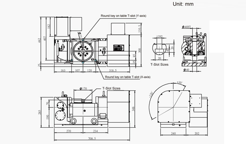 FEH-170 (5-Axis Tilting Swiveling Rotary Table) CNC Rotary Table Pneumatic Brake