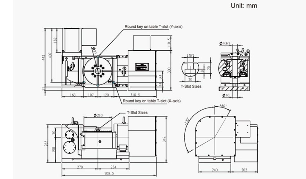 FEH-210 (5-Axis Tilting Swiveling Rotary Table) CNC Rotary Table Pneumatic Brake