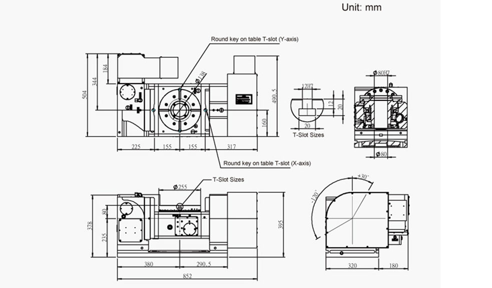 FEH-255 (5-Axis Tilting Swiveling Rotary Table) CNC Rotary Table Pneumatic Brake