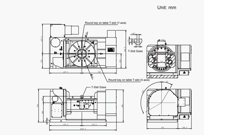 FEH-400 (5-Axis Tilting Swiveling Rotary Table) CNC Rotary Table Pneumatic Brake