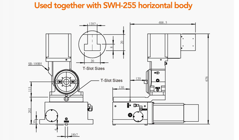 STD-100B5 CNC Rotary Table for Tool Grinder With SWH-255