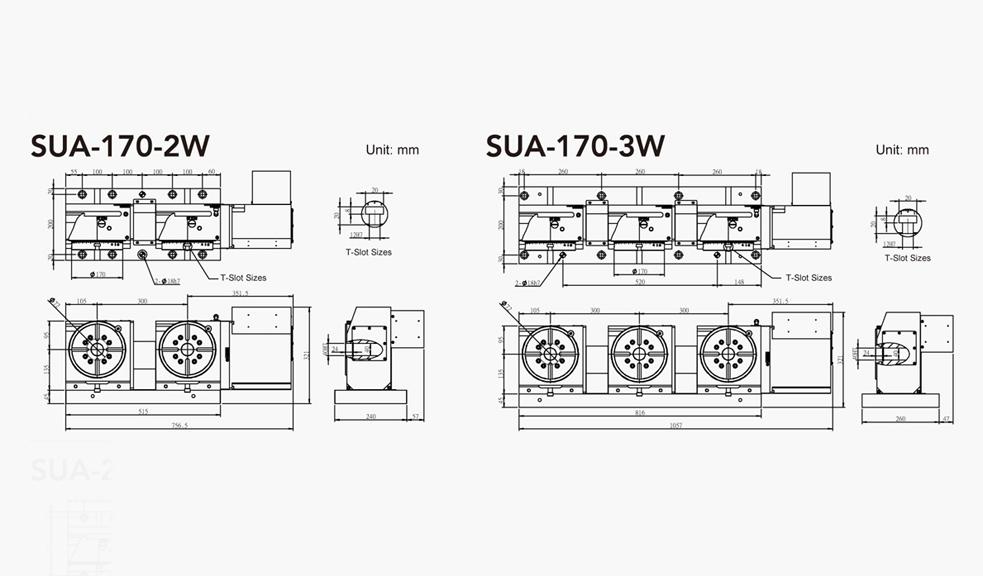SUA-170-2W/3W (2/3 Units) CNC Rotary Table Pneumatic Brake