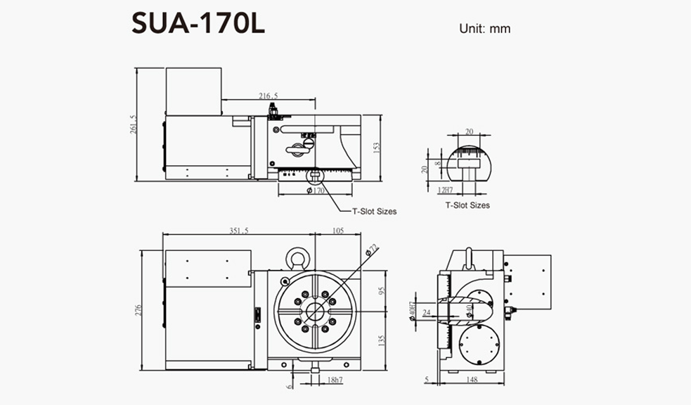 SUA-170L (Left Hand) CNC Rotary Table Pneumatic Brake