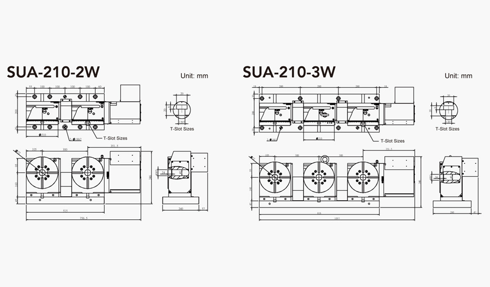 SUA-210-2W/3W (2/3 Units) CNC Rotary Table Pneumatic Brake