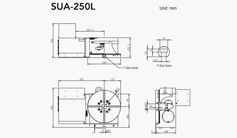 SUA-250L (Left Hand) CNC Rotary Table Pneumatic Brake