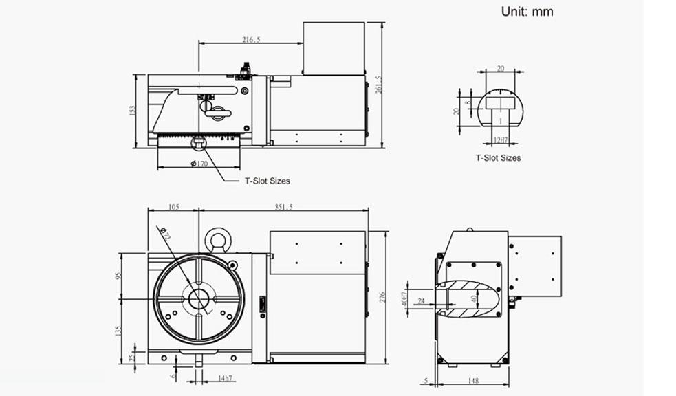 SUAC-170 (C Series) CNC Rotary Table Pneumatic Brake