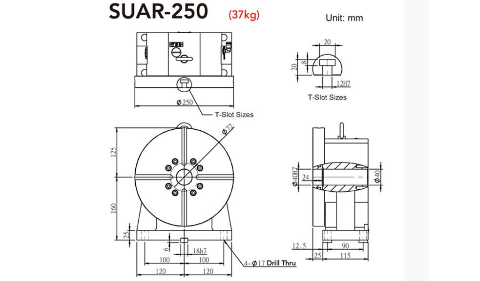 SUAR-250 Rotary Tailstock Pneumatic Brake