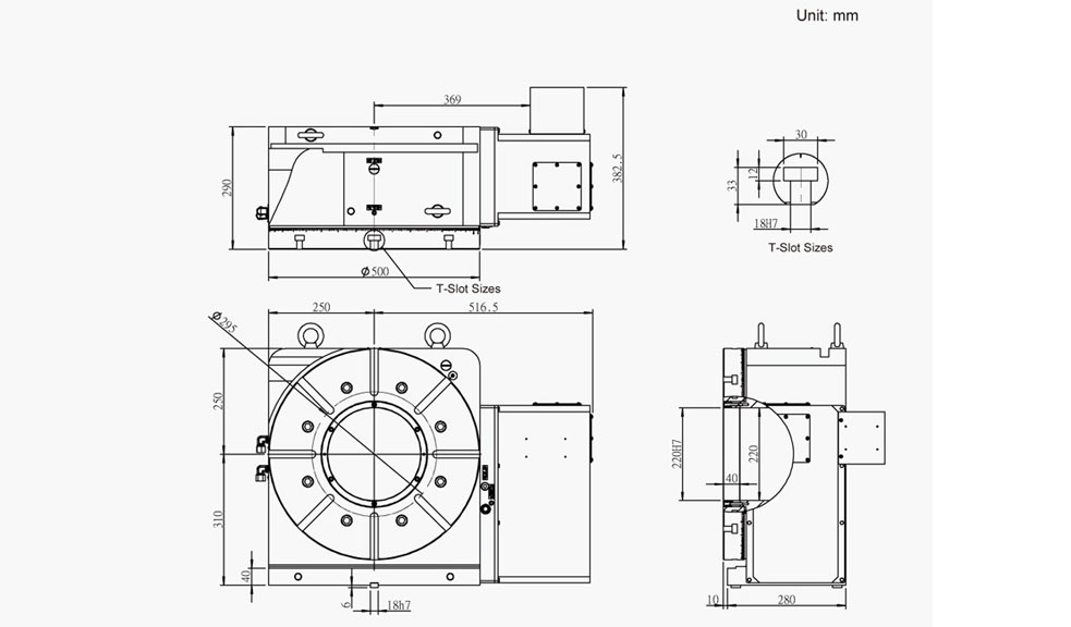 SUH-500N (Hydraulic Full Circumference Brake) CNC Rotary Table Pneumatic Brake