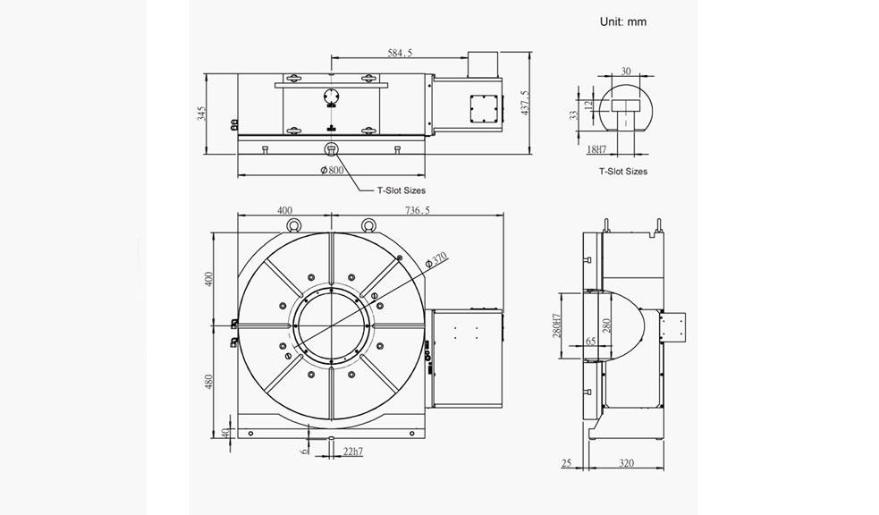 SUH-800N (Hydraulic Full Circumference Brake) CNC Rotary Table Pneumatic Brake