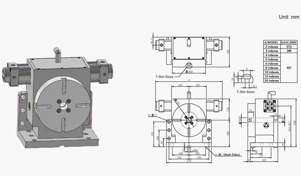 SUHC-200V (Vertical Tooth Type Hydraulic Positioning) Tooth Type Rotary Table