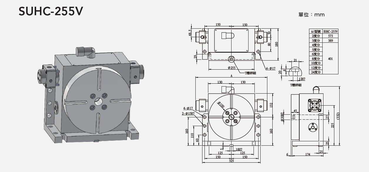 SUHC-255V (Vertical Tooth Type Hydraulic Positioning) Tooth Type Rotary Table