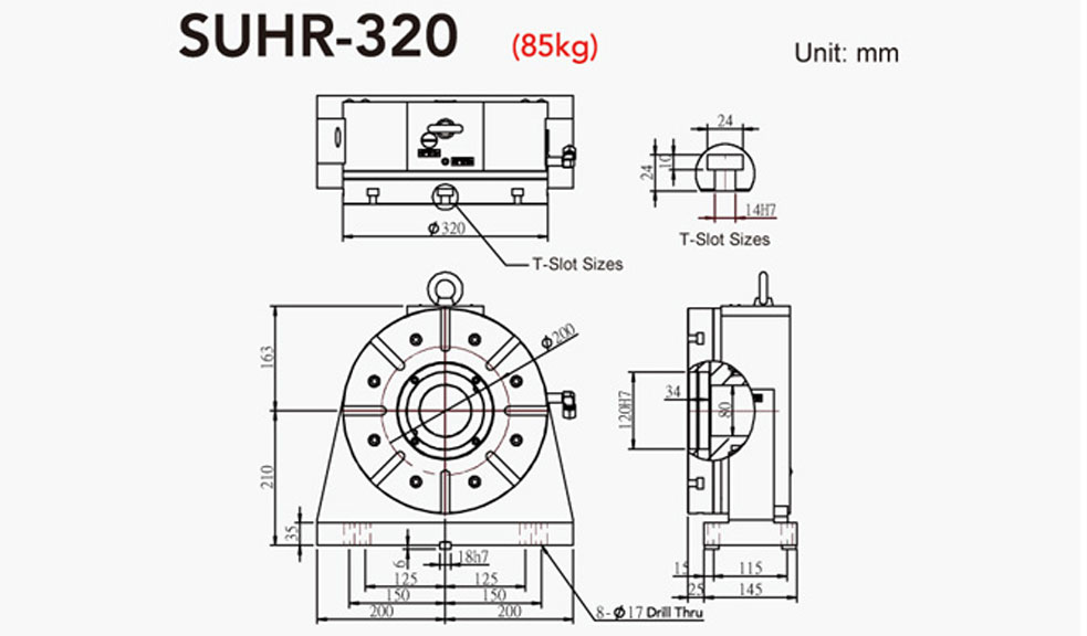 SUHR-320 Rotary Tailstock Hydraulic Brake